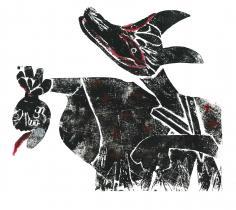版画で描く『森の妖怪』のイメージ